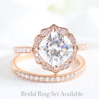 cushion moissanite ring bridal set in rose gold vintage inspired band by la more design