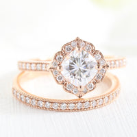 cushion moissanite ring bridal set in rose gold vintage inspired diamond band by la more design