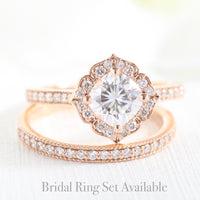 Mini Vintage Floral Ring in Milgrain Band w/ Cushion Moissanite and Diamond