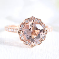 vintage floral morganite engagement ring in rose gold diamond milgrain band by la more design jewelry