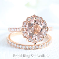 cushion morganite ring bridal set in rose gold vintage inspired band by la more design