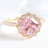 cushion peach sapphire engagement ring in yellow gold vintage floral diamond band by la more design jewelry