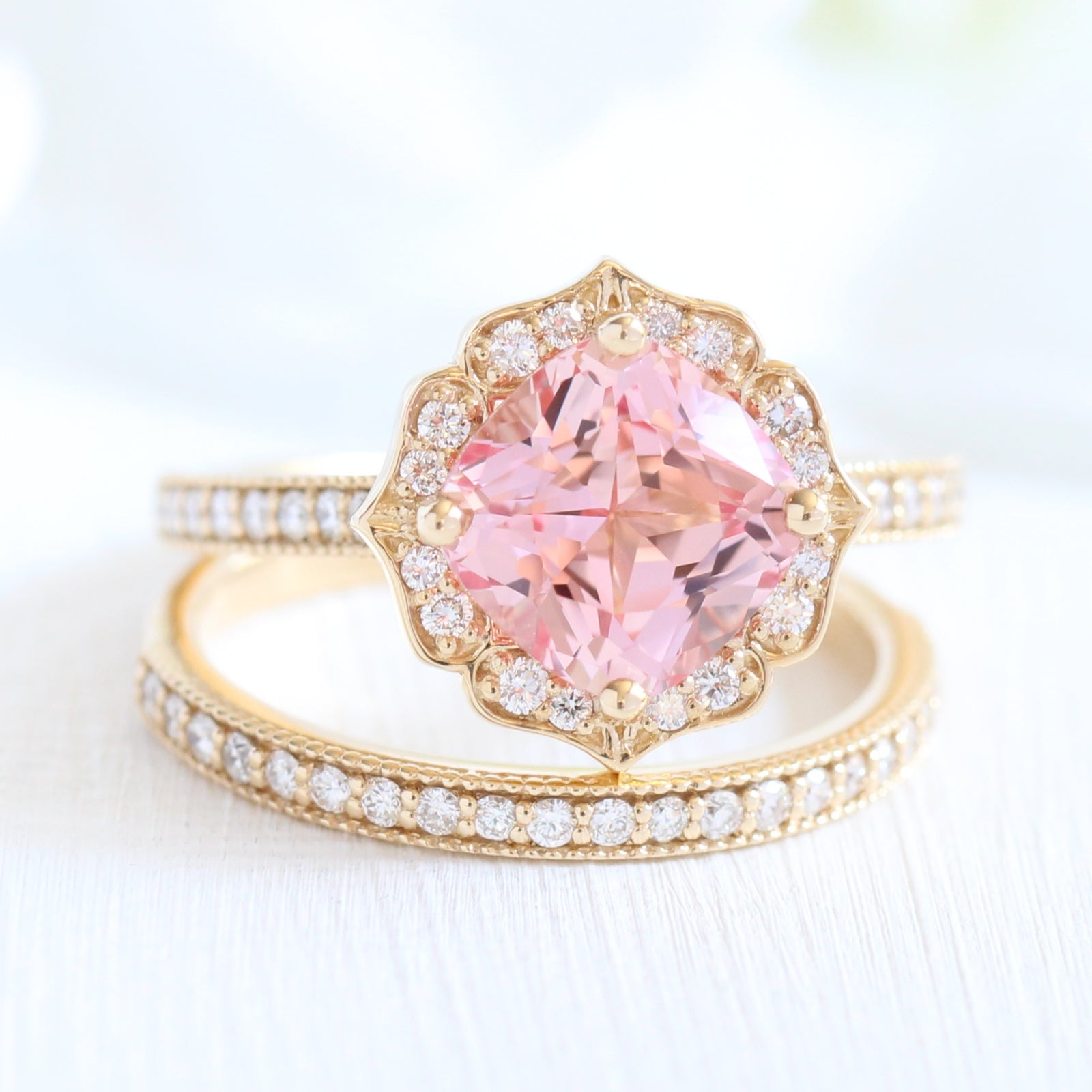 Vintage Floral Bridal Set in Milgrain Band w/ Cushion Peach Sapphire ...