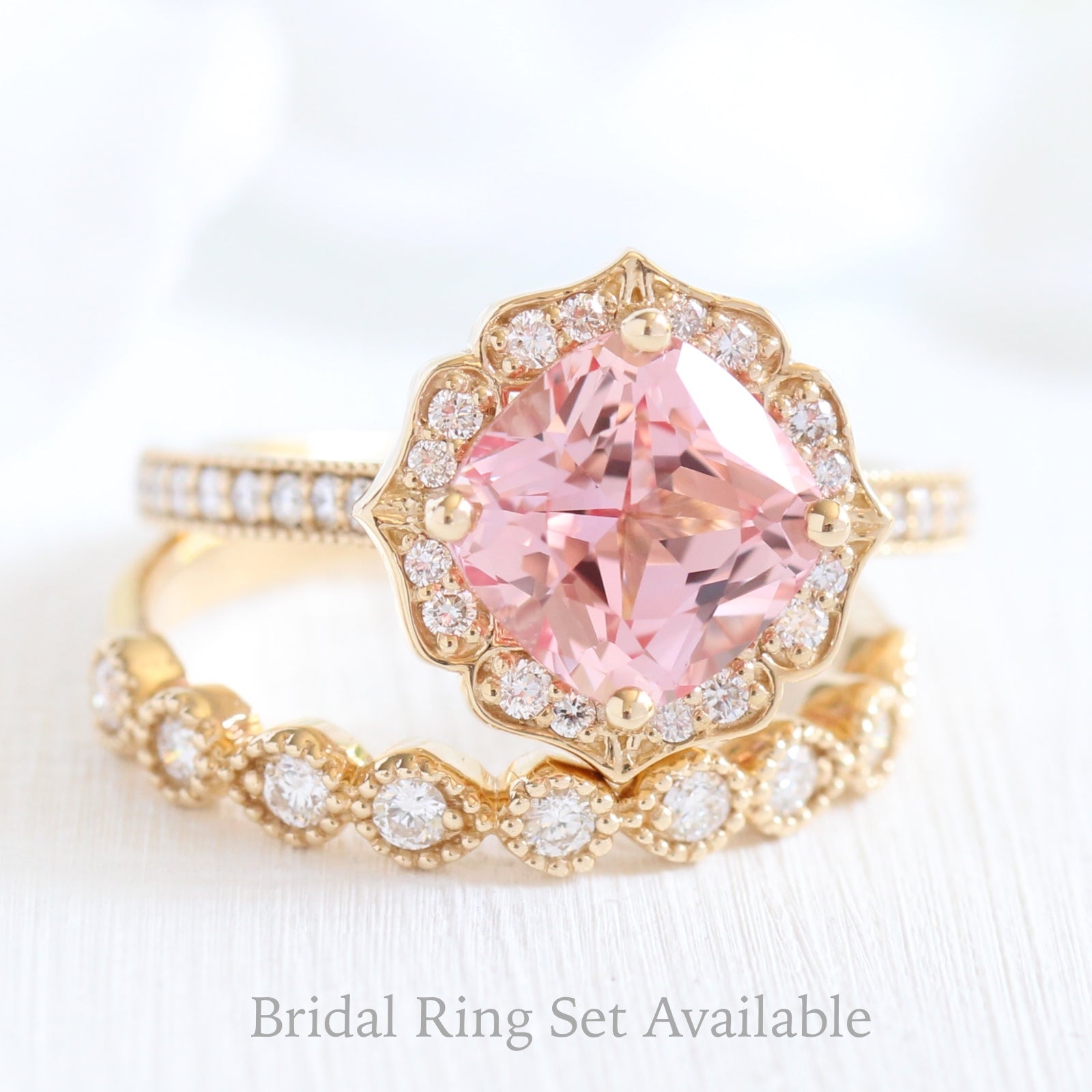 Vintage Floral Ring in Milgrain Band w/ Cushion Peach Sapphire and ...
