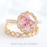 cushion peach sapphire ring bridal set in yellow gold vintage floral milgrain diamond band by la more design