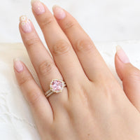 cushion peach sapphire ring bridal set in yellow gold vintage floral diamond band by la more design