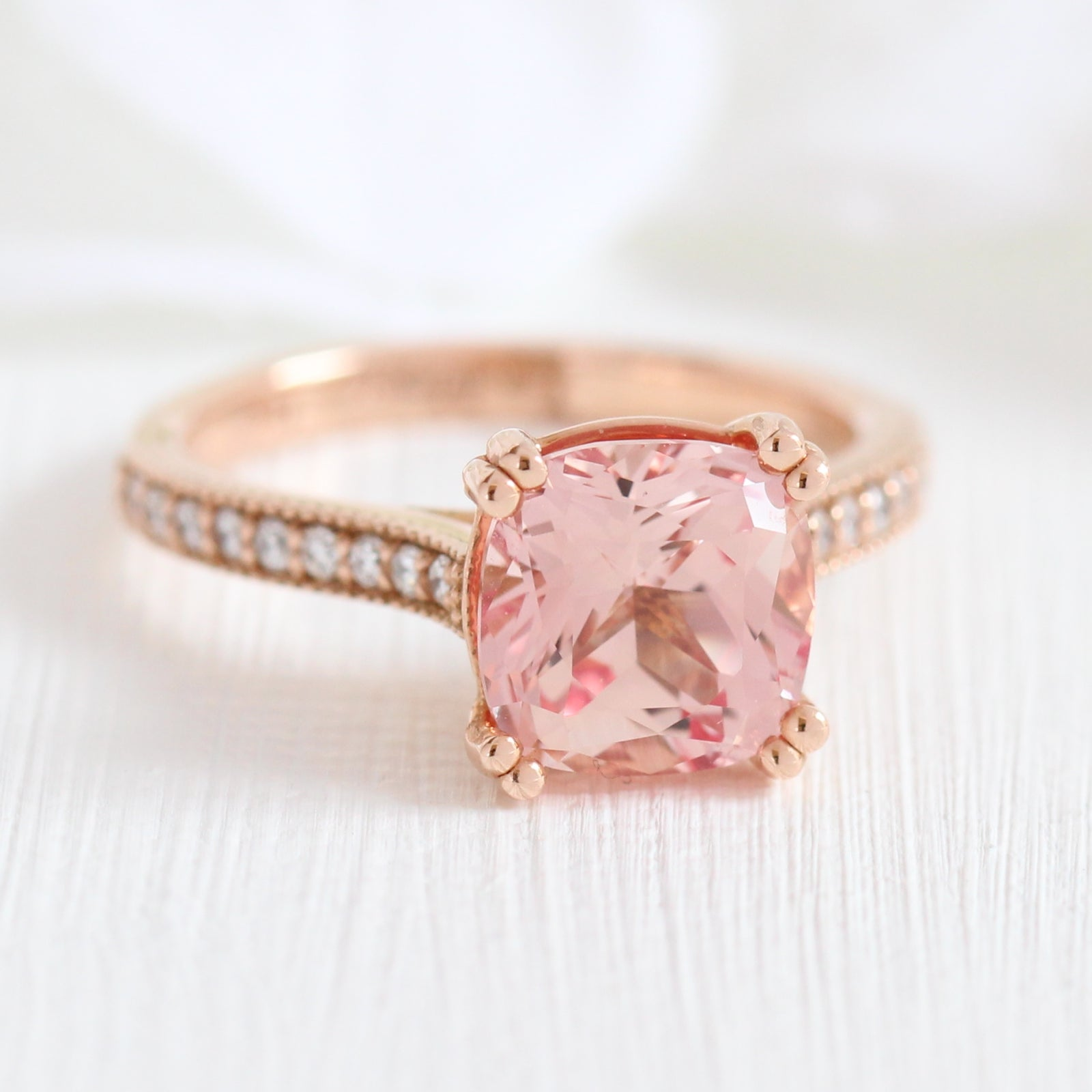 Grace Solitaire Ring in Milgrain Band w/ Cushion Peach Sapphire and ...