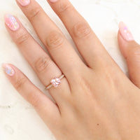 Grace Solitaire Cushion Peach Sapphire Ring in 14k Rose Gold, Size 5.75