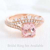 cushion peach sapphire solitaire ring and crown diamond wedding band in rose gold bridal set by la more design jewelry