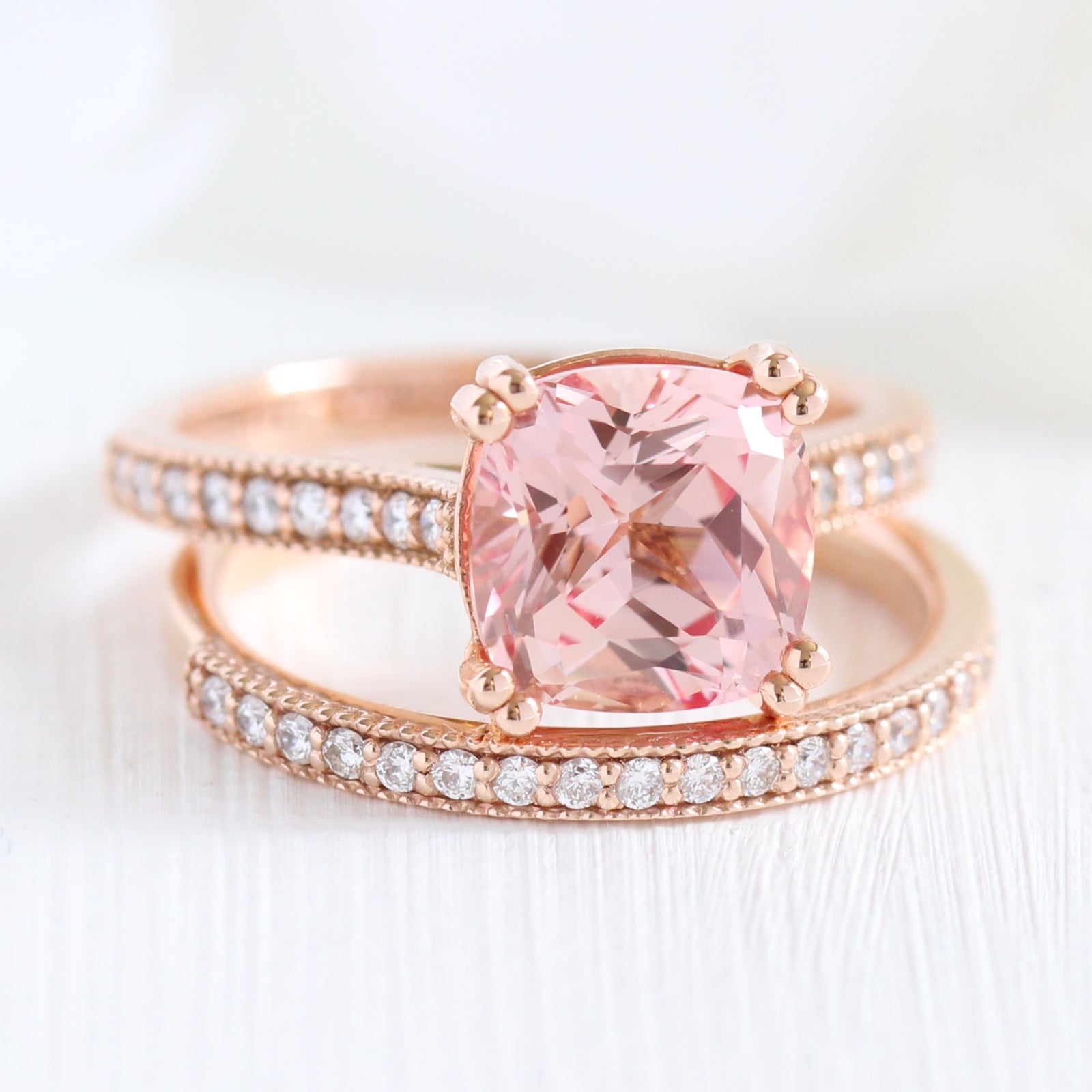 Grace Solitaire Bridal Set in Milgrain Band w/ Peach Sapphire and ...
