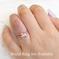 cushion peach sapphire solitaire ring and matching diamond wedding band in rose gold bridal set by la more design