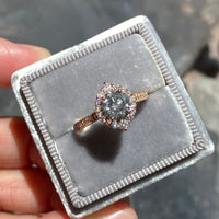 custom made salt and pepper diamond ring rose gold halo ring