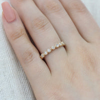 diamond half eternity band milgrain yellow gold wedding ring by la more design