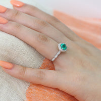 emerald halo diamond engagement ring white gold scalloped band cushion cut ring by la more design