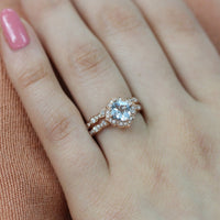 rose gold aquamarine engagement ring bridal set diamond vintage floral wedding ring set by la more design