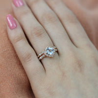 floral aquamarine engagement ring bridal set rose gold scalloped band by la more design