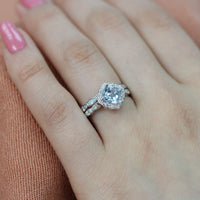 aquamarine engagement ring set in white gold mini vintage floral by la more design
