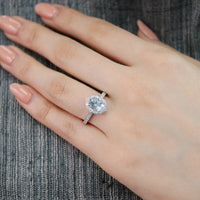 oval aquamarine engagement ring in white gold vintage inspired band by la more design