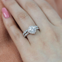 vintage inspired moissanite ring bridal set in white gold diamond band by la more design