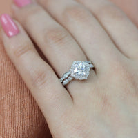 floral moissanite engagement ring bridal set white gold scalloped band by la more design
