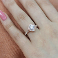 floral moissanite engagement ring rose gold milgrain diamond band by by la more design