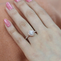 cushion moissanite engagement ring in rose gold vintage inspired diamond band by la more design