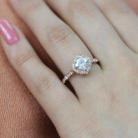 floral moissanite engagement ring rose gold scalloped diamond band by la more design