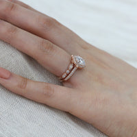 floral moissanite ring bridal set rose gold bezel diamond wedding band by la more design