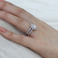 oval moissanite ring bridal set in white gold vintage inspired diamond band by la more design