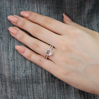 floral morganite ring bridal set rose gold milgrain diamond band by la more design