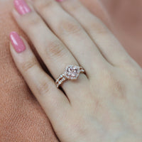 floral peach sapphire engagement ring bridal set rose gold scalloped band by la more design