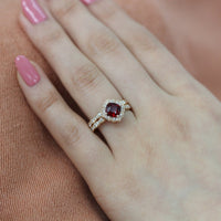 floral ruby engagement ring bridal set yellow gold scalloped band by la more design