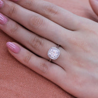 white gold cushion moissanite halo diamond engagement ring by la more design