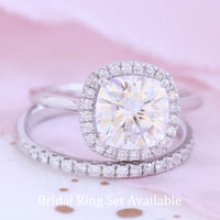 forever one moissanite engagement ring cushion halo diamond ring white gold by la more design