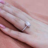 cushion moissanite engagement ring in white gold vintage inspired band by la more design