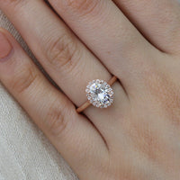 oval moissanite engagement ring rose gold halo diamond ring by la more design jewelry