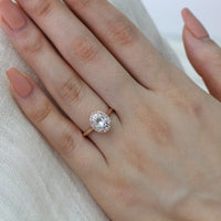 forever one moissanite engagement ring oval cut halo ring rose gold by la more design