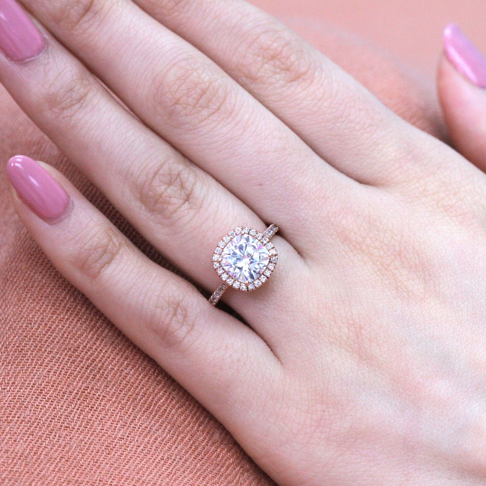 Luna Halo Ring in Pave Band w/ Cushion Moissanite and Diamond | La ...