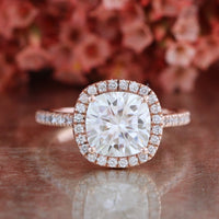 forever one moissanite ring halo engagement ring rose gold diamond band by la more design