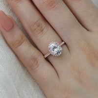 Luna Halo Ring in Pave Band w/ Oval Moissanite and Diamond