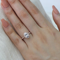 forever one moissanite ring rose gold halo diamond engagement ring by la more design