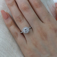 forever one moissanite ring round cut engagement ring white gold by la more design