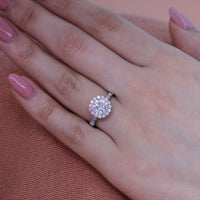 forever one moissanite engagement ring in white gold diamond band by la more design