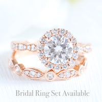 forever one moissanite ring bridal set in rose gold diamond band by la more design