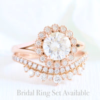 Vintage Luna Halo Ring w/ Round Forever One Moissanite and Diamond