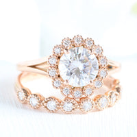 forever one moissanite ring bridal set in rose gold vintage inspired diamond ring by la more design