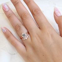 Grey diamond ring and 7 stone diamond wedding band in rose gold halo bridal ring set by la more design jewelry