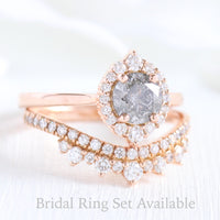 Grey diamond ring and curved crown diamond wedding band in rose gold halo bridal ring set by la more design jewelry