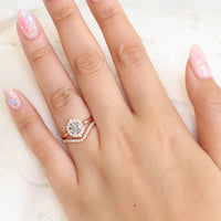 Grey diamond ring and curved diamond wedding band in rose gold halo bridal ring set by la more design jewelry