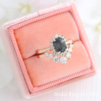 grey spinel ring rose gold cushion salt and pepper diamond ring halo engagement ring bridal set la more design jewelry